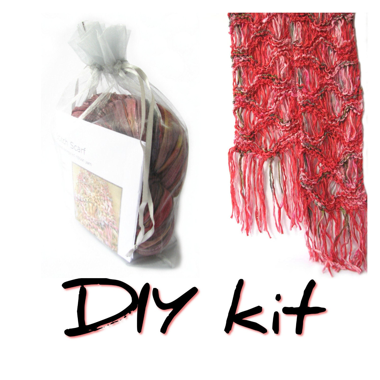 Scarf Knitting Kits Uk : Diy knit kit scarf knitting easy pattern ripple fringe