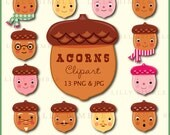 ACORNS cute clipart for holiday crafts in png and jpg format Instant Download kawaii