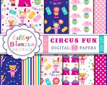 40% off Circus Digital scrapbook papers with clowns, bears, elephants, lions, tents, for baby and kids INSTANT DOWNOAD