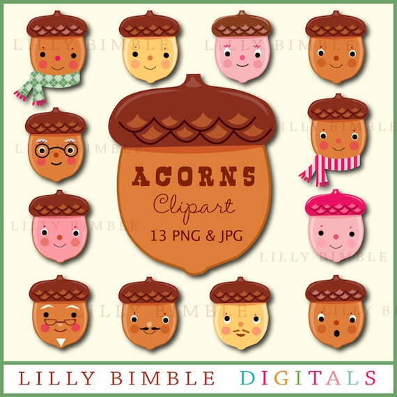 80% off ACORNS cute clipart for holiday crafts in png and jpg format Instant Download kawaii