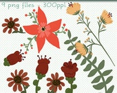 Clip Art Flowers, Fall Floral Clip Art, Fall Clip Art, Fall Flowers Clip Art, Digital Scrapbooking Element, Floral Art Image, Flower Graphic