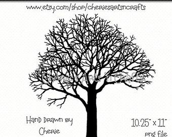 Tree Silhouette, Winter Tree Silhouette, Tree Drawing, Tree Clip Art, Tree Graphics, Hand Drawn Art, Silhouettes, Tree Clipart, Tree Art