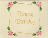 Handmade Pin Prick Embroidery Flower Scroll Birthday Card