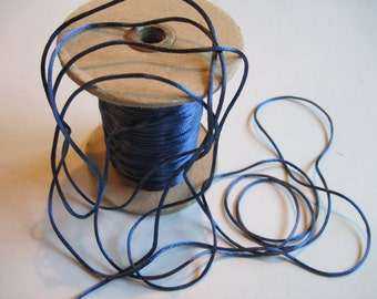 vintage blue satiny ribbon cording 10 yards