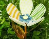Patchwork Glass Flower Garden Stake