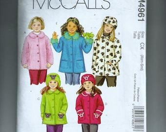 McCall's Child Unlined Coats and Hats Pattern M4961
