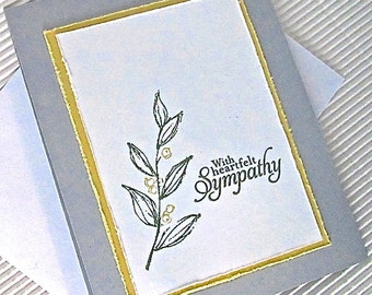 Condolence/heartfelt sympathy card handmade stamped blank distressed nature leaves grey yellow white stationery greeting card home living
