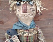 OOAK PRiMiTiVe ScArEcRoW DoLL with Crow Dolls-Cornfield Sign-ORIGINAL