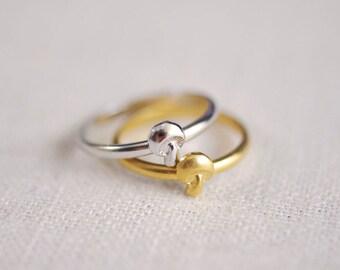 mushroom ring . woodland ring . mushroom stacking ring . mushroom jewelry . woodland jewelry . toadstool ring // 4PRTB