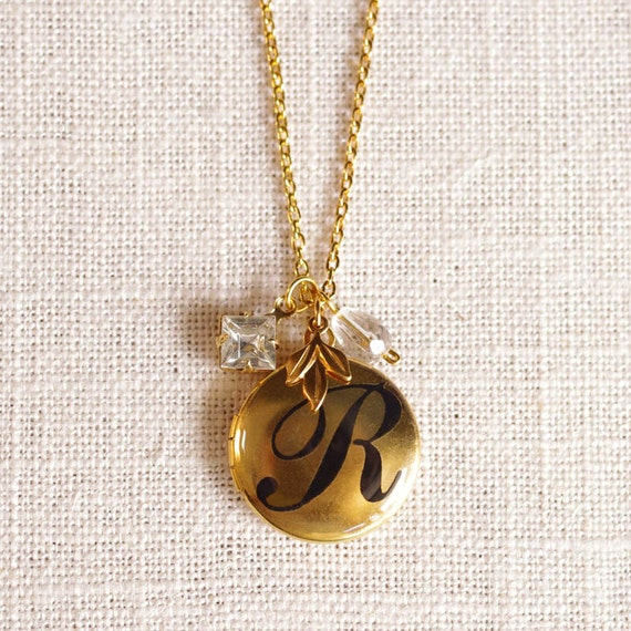 identity . LETTER R . LAST ONE // initial jewelry . personalized locket necklace . initial locket . gold initial jewelry