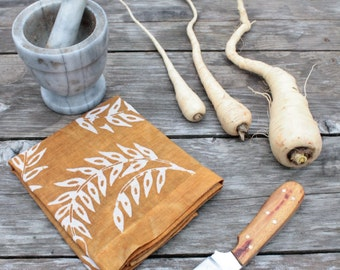 ochre wheat linen tea towel