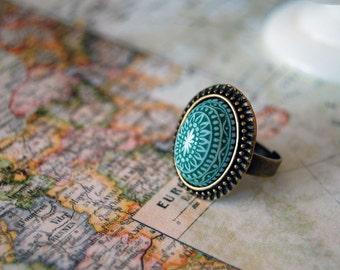 Scandinavian Green and White mosaic ring- antiqued brass