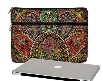 Paisley MacBook Case,  MacBook Pro Case, 13 MacBook Air Case, MacBook Pro Retina 13 inch laptop sleeve, zipper pocket  teal red purple RTS