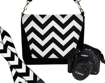 SALE SET Chevron Dslr Camera Bag and Dslr Camera Strap, Camera Bag Slr and Camera Neck Strap, Black White MTO