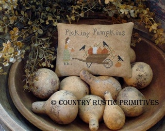 Primitive Picking Pumpkins Pillow Tuck Cross Stitch E Pattern PDF- New Pattern