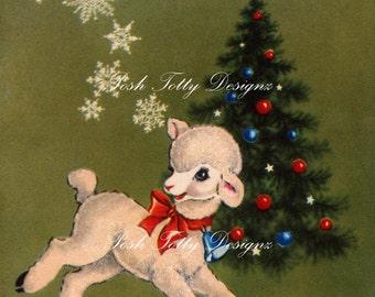 Vintage Lamb and Christmas Tree Digital Download Printable Image (406)