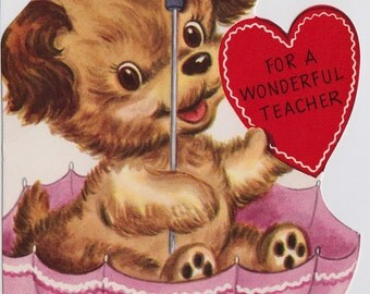 Vintage For A Wonderful Teacher Puppy In An Umbrella Valentines Greetings Card (B11)