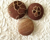 Brown - 3 fabric covered buttons - 1 1/8 inches