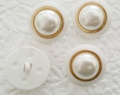 4 vintage buttons, ivory gold tone buttons, shank buttons, 7/8 inch