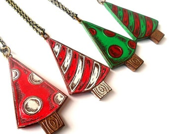 Whimsical Holiday Tree Necklace - Holiday Jewelry - Christmas Tree Pendant - Polka Dots or Stripes Red, Green and White