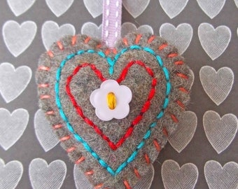 Felt Key Ring or Bag Charm - Embroidered Love Heart