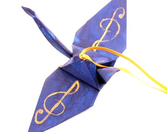 Gold Treble Clef on Midnight Blue Handpainted Origami Crane Ornament, Music Inspired Monaco Blue
