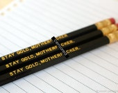 Mature Pencil Set. Stay Gold Motherf*cker. Black Pencil Set. Set of 3 Pencils. Hot Foil Stamped Pencils. Black Hexagon Pencils.