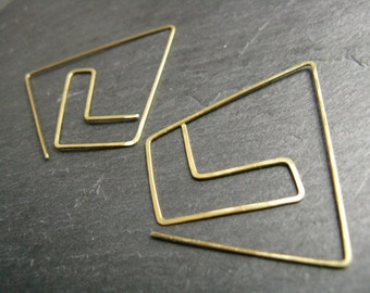 Oversized chevron triangle earrings, original geometric earrings, statement thread through tribal hoops , hammered gold tone brass or silver