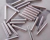 "72 pcs. silver tone ""liquid silver"" tube beads 9.5x1.5mm  #f4322"
