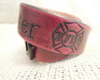 Custom Firefighter Dog Collar Distressed Red and Black