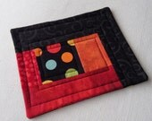 NEW Coffee Quilt, Black, Orange and Red with Giant Polka Dots, Quilted Patchwork Coffee Coaster or Mug Rug