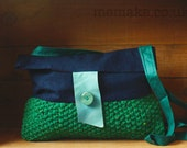 Cross body bag navy cotton green wool tweed knit purse blue leather fold over bag teal long strap memake handmade fashion