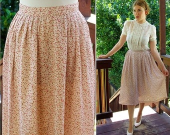 Afternoon MEADOW 1950's 60's Vintage Soft Pink Floral Skirt with Falling Leaves // size Small