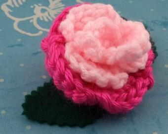 Crocheted Rose Ponytail Holder or Bracelet - Light Pink and Hot Pink (SWG-HP-MPPP01)