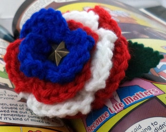 Crocheted Rose Ponytail Holder or Bracelet - Red, White, and Blue with Star center (SWG-HP-HEAM03)