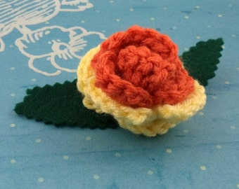 Crocheted Rose Barrette - Orange and Yellow (SWG-HB-MPAJ01)