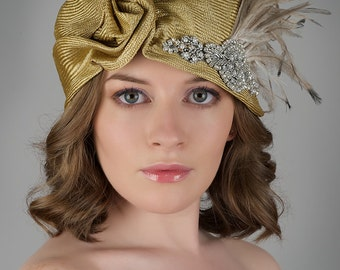Straw Cloche Art Deco Hat