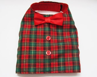 Holiday Vest  Plaid Red And Green  For that Boy Dog