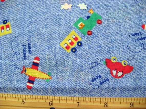 Fat quarter children 39 s novelty fabric cars train engine for Kids train fabric