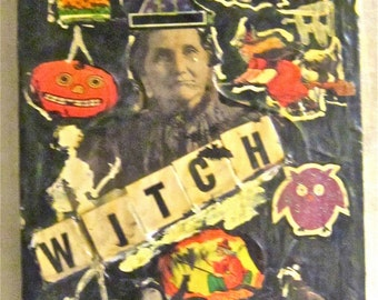 Original Vintage funky  Mixed Media  Goth Witch Skeleton Bat Skull Halloween  Collage Art