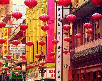San Francisco Photography - Chinatown, California, Travel, Tourism, Lantern, Street, Scene, Pink, City Streets, Bay Area