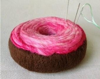 Pincushion - Felted Chocolate Doughnut with Pink Swirl Icing Needlecushion Needle Keeper