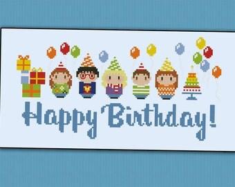 Happy Brithday Party - PDF cross stitch pattern