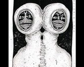 Conjoined Sliced Visage, raw anxiety, outsider horror art brut by Nightmare Tank