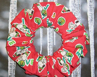 Snoopy/Woodstock Holiday Hair Scrunchie, Ponytail Holder, Hair Tie, Hope Love & Joy
