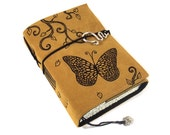 Butterfly, Journal Leather Handmade Painted Notebook Diary Guestbook