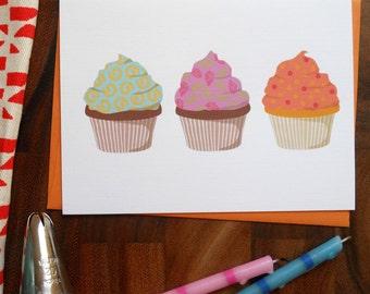 Cupcakes Celebration Card: single or boxed set