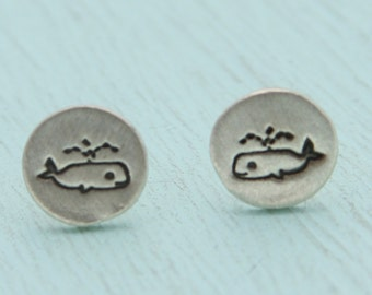 WHALE studs,  Illustration by BOYGIRLPARTY, eco-friendly silver earrings.  Handcrafted by Chocolate and Steel.