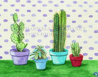 CACTUS COLLECTION Original watercolor painting