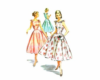 1950s Full Skirt Dress and Petticoat McCalls 3659 Vintage Sewing Pattern Size 12 Bust 30